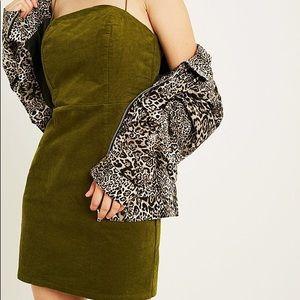 Urban outfitters green corduroy shirt dress